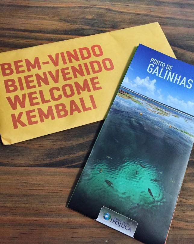 O Kembali oferece no check-in um cartão, nele vem falando algumas curiosidades, dicas e um mapinha de Porto de Galinhas! Achei muito interessante!